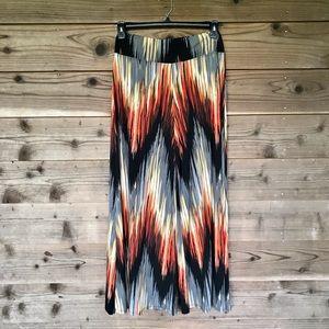 Coco Bianco Wide Leg Pull On Chevron Pants Medium